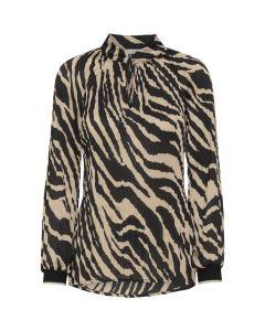 CostaMani Plizze Skjorte Beige Zebra Stribet